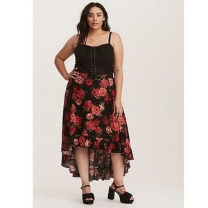 Torrid High/Low Black Skirt With Red Roses Size 1